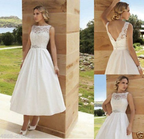 Fashion short wedding dress with closed top