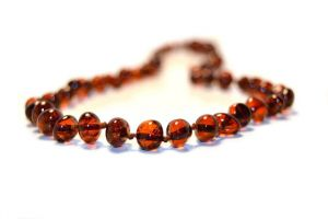 "Baltic amber adult necklace. Dark cognac color. Length 45cm (17.7"")"