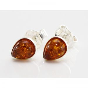 "Baltic amber silver 925 studs earrings ""Drops"""