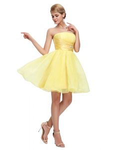 Short Strapless Fluffy Party Evening Cocktail Dress Yellow color