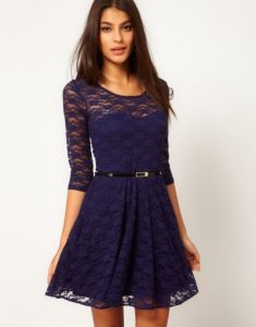 Nice short guipure dress of dark blue color