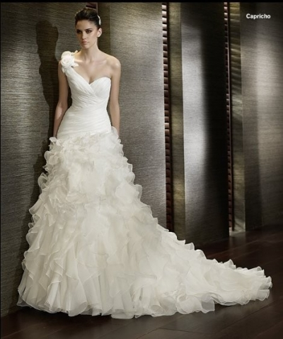 Elegant wedding dress with one strap