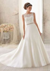 Gorgeous wedding dree, gown with lace top