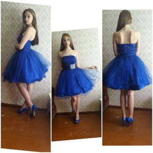 Short prom, party dress of bright blue color. Size 14