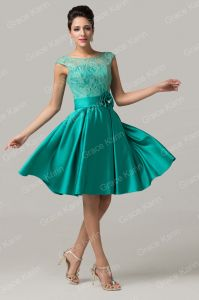 Short prom, party, cocktail dress of sea green color. Knee length.
