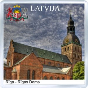 Souvenir fridge magnet: Latvia. The dome Cathedral in Riga