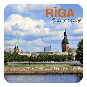 Riga - nice place. Embankment of river Daugava. Fridge magnet