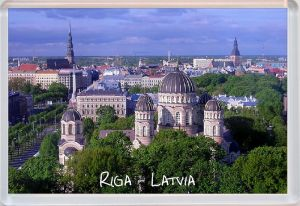Fridge magnet - view of Riga, capital of Latvia. Latvian views
