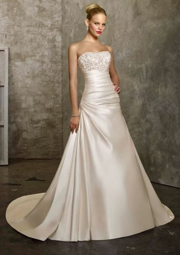 A-line strapless beading satin bridesmaid wedding dress