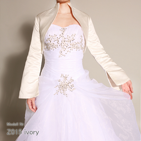 Wedding satin bolero, jacket, cloak, cape with sleeves