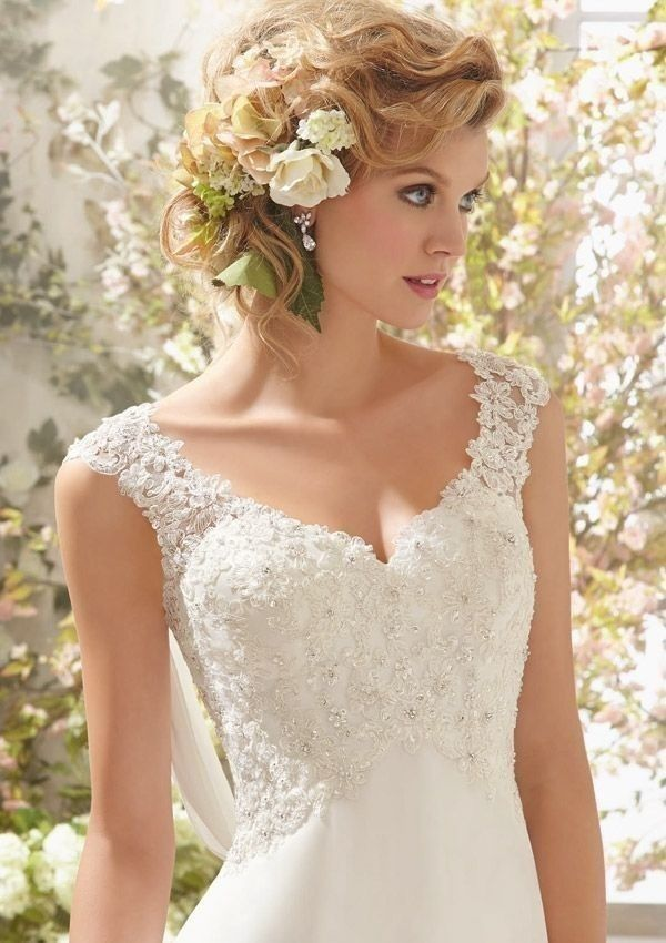 Wonderful  wedding dress with lace top. Size 10