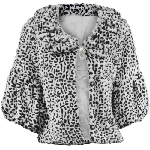 Soft Faux Fur Shrug In Animal Style A