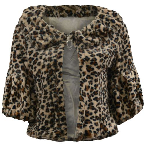Soft Faux Fur Shrug In Animal Print Style C