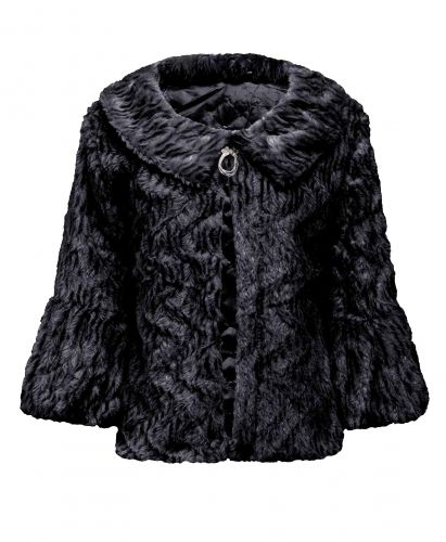 Ladies Lightweight Soft Faux Fur Shrug in Black