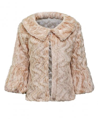 Ladies Lightweight Soft Faux Fur Shrug in Champagne
