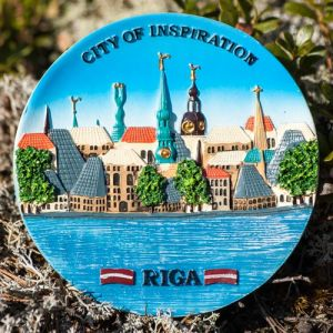 Fridge magnet - view of Riga churches, capital of Latvia. Latvian views