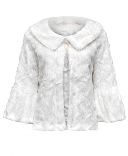 Ladies Lightweight Soft Faux Fur Shrug in Ivory